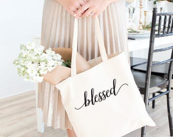 Blessed, blessed tote, thanksgiving tote, inspirational, thankful, thanksgiving, grateful, oh so blessed, thanksgiving, be thankful, holiday