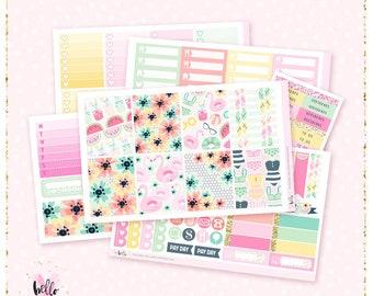 Poolside - Planner sticker kit / 6 sheets - for the vertical Erin Condren or Happy Planner