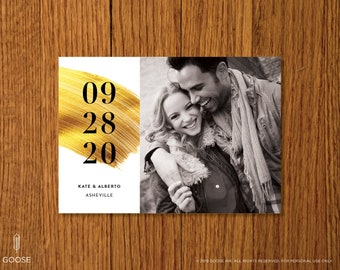 Gilded | Printable Photo Save the Date Template | Instant Download | Use your own photo!