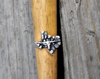 Sterling Silver Texas Nugget Ring with Longhorn Cow