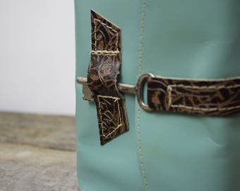 Turquoise leather journal with key latch LAST ONE in this color