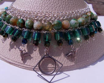 Necklace Choker necklace MULTISTRAND green beads