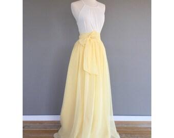 CANARY chiffon skirt, any length and color Bridesmaid skirt, floor length, tea length, knee length empire waist  chiffon skirt
