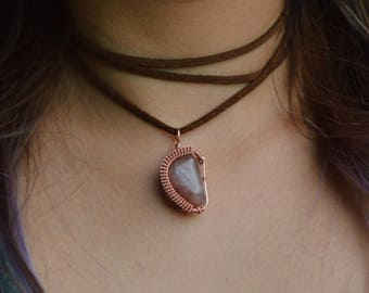 Red Aventurine Copper Wire Wrapped Pendant