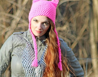 This Hot Pink Pussy Hat Grabs Back! Cat Kitten Fox Ear EarFlap Cap Women's March on Washington. Political Fashion Accessory METOO Times up