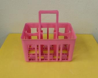 BOTTLE RACK, for 6 bottles, color pink, design, plastic, vintage on 1970