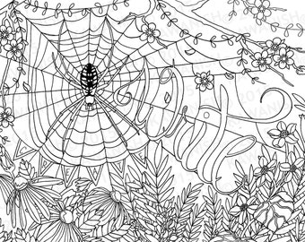 creative writing spider flower adult coloring page gift wall art