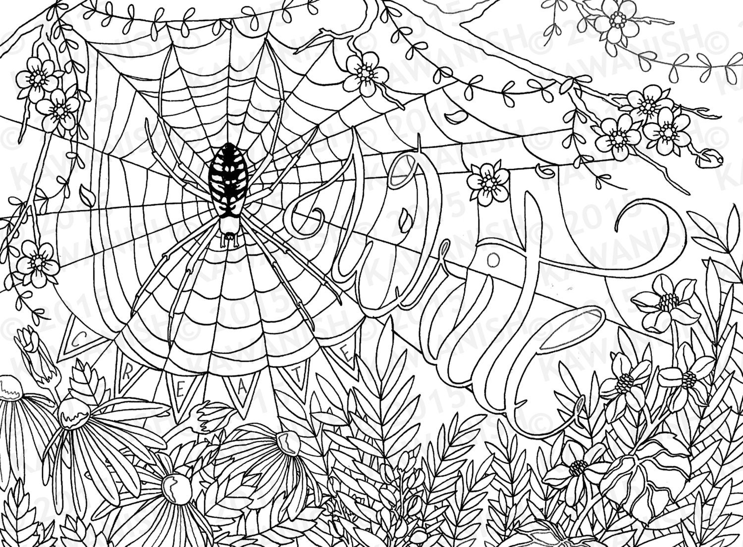Creative Writing Spider Flower Adult Coloring Page Gift Wall