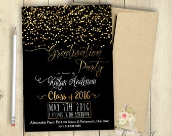 Graduation Party Invitation Class of 2017 PRINTABLE Customized Grad Party Black and Gold Sparkles Glitter