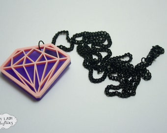Pastel Diamond Necklace, Laser Cut Jewellery, Laser Cut Acrylic, Laser Cut Diamond, Laser Cut Necklace
