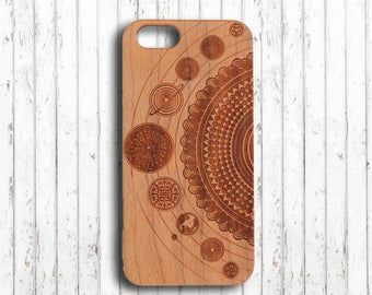 Iphone 6 case,Galaxy iphone 7 case,wood iphone 7 plus case,wood iphone 6S case,mandala sonnensystem iphone 7 case,iphone 5s case