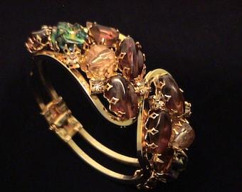 Vintage Juliana D&E Jeweled Art Glass Volcano Stone, Crystal Clamper Bracelet