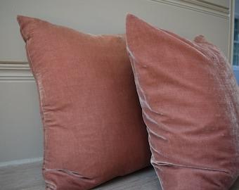 Dusty Rose Silk Velvet Cushion Cover