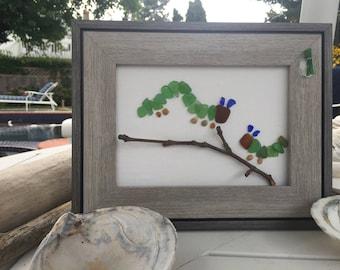 caterpillars, sea glass,
