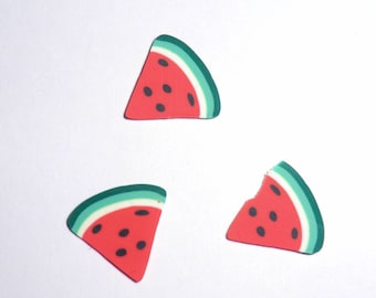 LARGE fimo canes slices 10 x 1 CM watermelon slice.