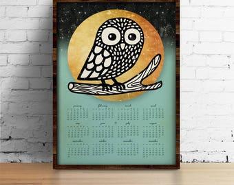 Owl Calendar 2018, Wall Calendar 2018 - Moon and Owl calendar A3, A3+, A2 - calendar print - art print - wall art - home decor