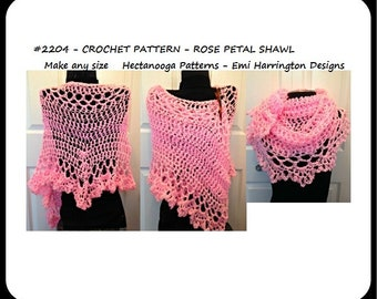 Crochet Shawl Pattern, Rose Petal Shawl, crochet patterns, lacy summer wrap #2204 - Hectanooga Patterns, women's clothing, Mother's day gift