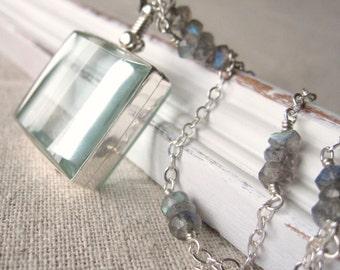 Glass Locket Necklace, Swivel Square Locket Jewelry, Sterling Silver Locket Pendant, Keepsake Jewelry, Push Present, Memorial Locket