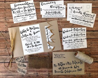 DEPOSIT, Unique wedding invitation, handmade pocketfold invitation, rustic woodland wedding theme, eco friendly wedding, DIY wedding