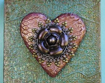 3D Heart Canvas - Clay Wall Art - Heart Wall Art - Mixed Media Heart Art - Heart Assemblage Art - Original 3D Wall Art - Floral Heart Canvas
