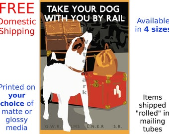 Travel Poster - Vintage Railroad Travel Print - British Railways Take your Dog with You by Rail - (265930854)