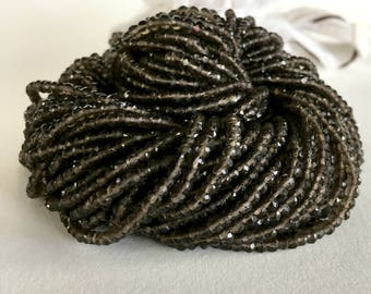 Smoky Quartz Beads, 13 inch Full Strand - 2.3-3.4mm Faceted Smoky Quartz Strand, - Item 416