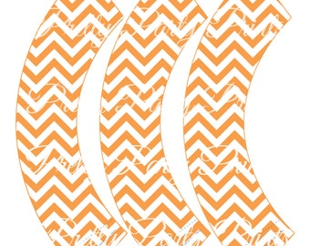 Orange Chevron Cupcake Wrappers Birthday Party Printable Digital Instant Download