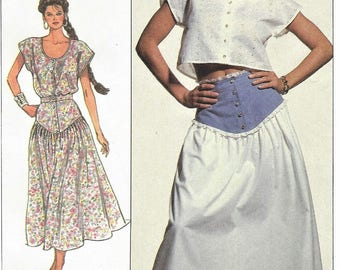 80s Womens Button Front Midriff Top & Yoked Dirndl Skirt Simplicity Sewing Pattern 7954 Size 10 12 14 Bust 32 1/2 to 36 FF Sewing Patterns