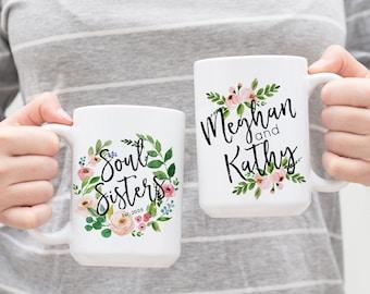 Best Friend Mug - Soul Sisters Mug - Sister Coffee Mug - BFF Coffee Mug - Friend Coffee Mug - Sisters by Choice - Friendship Mug - Soulmates