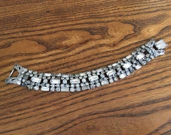 Vintage Clear Baguette Rhinestone Cuff Bracelet 1176