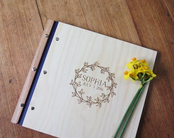 Baby Book. Wood Baby Album. Memory Scrapbook. Keepsake. Photo Abum. Photo Journal