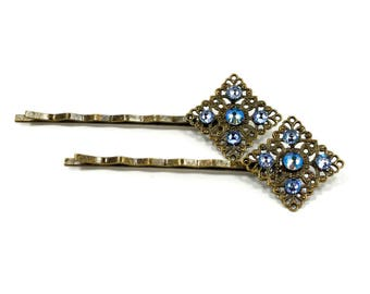 Swarovski Crystal Hair Pins - Blue Crystal Shakespeare Hair Clips - Hermione