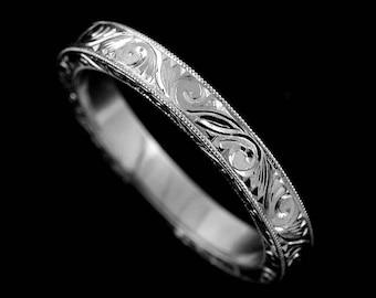 Engraved Wedding Ring, Carved Wedding Band, Scroll Milgrain Flat Wedding Ring, Art Deco Straight Women's Wedding Ring,White Gold Ring 2.85mm