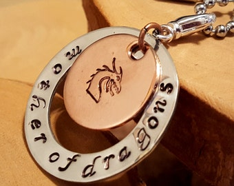 Mother of Dragons hand stamped layered aluminum washer and copper disc pendant necklace perfect for GOT fans