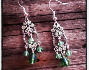 Earrings silver and green glass beads