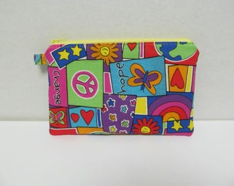 "Zipper Pouch/5""x8""/Peace Fabric"
