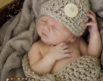 HAT and Cocoon Baby Newborn Photo Prop in PEARLS - Photography Set 2 pcs Infant Girl Babies Photo Shoot all Babies available more colors