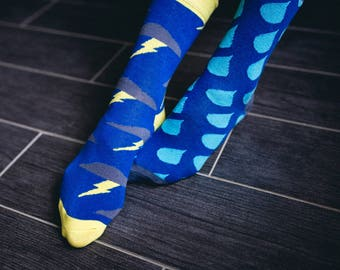 Downpour Socks with Drops and Lightning in Blue for Men and Women