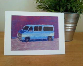 """Blue van card 5""""x7"""""""
