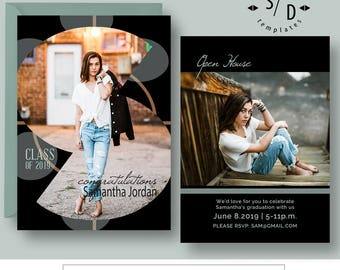 Graduation Announcement Class of Card Photography Template, High School Photo Grad Invitation, Photoshop Template, INSTANT DOWNLOAD