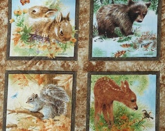 Fabric patchwork/decoration 4 baby animals decals