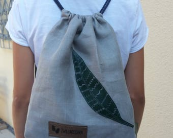 Backpack, women, feather, imitation leather, for girls, with shoulder pads, inner pocket, linen backpack