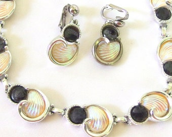 Vintage 1980's Demi Parure Emmons Necklace and Earrings, Silvertone with Black Stone and Iridescent Shell Swirls