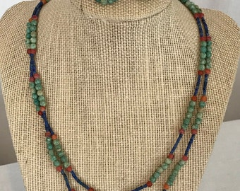 Amazonite, Carnelian & Lapis Necklace and Earrings Set