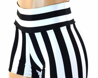 Black & White Jailbait or Referee Striped Print High Waist Pinup Shorts  151221