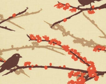 Joel Dewberry, Aviary 2 Collection, Sparrows in Bark, Brown, Orange, Branches, cotton quilting fabric -  HALF YARD SALE