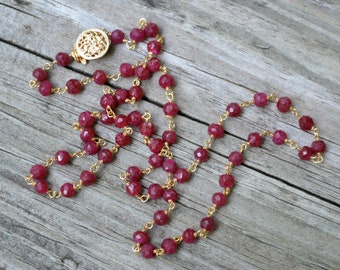 Ruby Necklace - Faceted Rondelle Rubies Wire-Wrapped with Gold Vermeil - Rosary Style  - Cherish by SplendorVendor