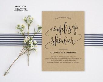 Couples Shower Invitation Template | Editable Invitation Printable | Engagement Couples Shower Calligraphy Kraft Invite | No. PW 5337