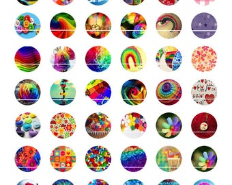 224 # 54 rainbow colored designs/images for cabochons 10mm round
