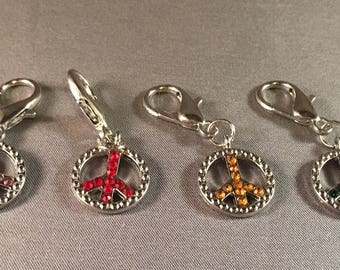 Stitch Markers-Set of 6 Rhinestone Rainbow Peace Sign Markers